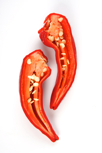 Chilli peppers on white backgroundの写真素材 [FYI03653881]