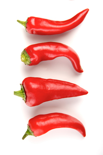 Close-up of chilli pepper on white backgroundの写真素材 [FYI03653883]
