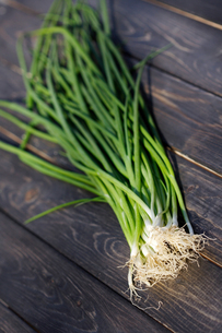 Close up of chives on wooden tableの写真素材 [FYI03653939]