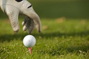 Human hand positioning golf ball on tee, close-upの写真素材 [FYI03654920]