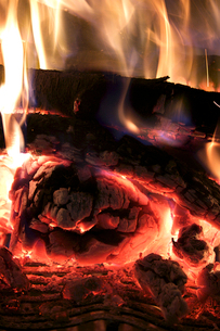 crest of flame on burning wood in fireplaceの写真素材 [FYI03656100]