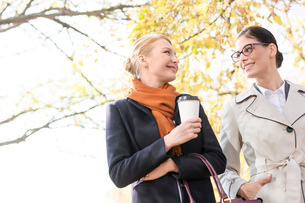 Low angle view of smiling businesswomen conversing at parkの写真素材 [FYI03656248]