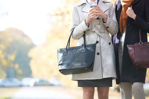 Midsection of businesswomen carrying purses at parkの写真素材 [FYI03656260]