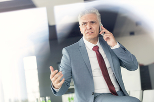 Serious mature businessman talking on mobile phone in officeの写真素材 [FYI03657289]