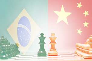 Game of chess China and Brazilの写真素材 [FYI03657886]