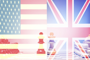 Chess game USA vs UKの写真素材 [FYI03657891]