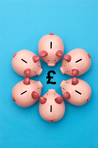 Piggy banks on blue background surrounding a GBP Symbolの写真素材 [FYI03657974]
