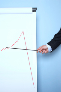 Businessman pointing at graph on flip chart against blue wallの写真素材 [FYI03658004]