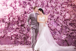 Romantic bridegroom kissing bride on forehead while standing against wall covered with pink flowersの写真素材 [FYI03658224]