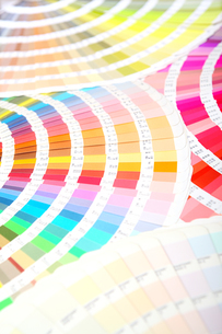 扇状に広げた沢山のカラーチャート。彩り、カラフル、デザイン、コーディネイト、イメージの写真素材 [FYI03667039]