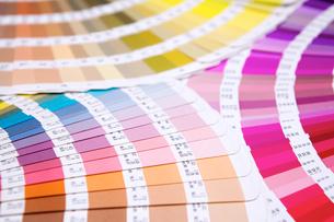 扇状に広げた沢山のカラーチャート。彩り、カラフル、デザイン、コーディネイト、イメージの写真素材 [FYI03667083]