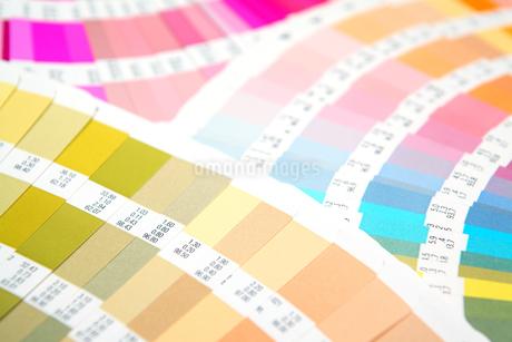 扇状に広げた沢山のカラーチャート。彩り、カラフル、デザイン、コーディネイト、イメージの写真素材 [FYI03667099]