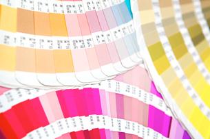 扇状に広げた沢山のカラーチャート。彩り、カラフル、デザイン、コーディネイト、イメージの写真素材 [FYI03667120]