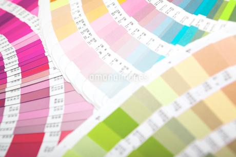 扇状に広げた沢山のカラーチャート。彩り、カラフル、デザイン、コーディネイト、イメージの写真素材 [FYI03667162]