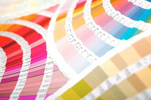 扇状に広げた沢山のカラーチャート。彩り、カラフル、デザイン、コーディネイト、イメージの写真素材 [FYI03667163]