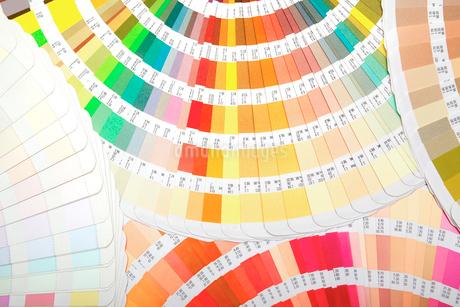 扇状に広げた沢山のカラーチャート。彩り、カラフル、デザイン、コーディネイト、イメージの写真素材 [FYI03667166]