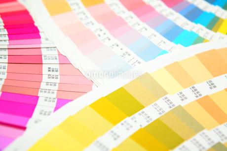 扇状に広げた沢山のカラーチャート。彩り、カラフル、デザイン、コーディネイト、イメージの写真素材 [FYI03667205]