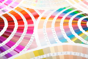 扇状に広げた沢山のカラーチャート。彩り、カラフル、デザイン、コーディネイト、イメージの写真素材 [FYI03667212]