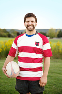 Portrait of college rugby playerの写真素材 [FYI03671597]