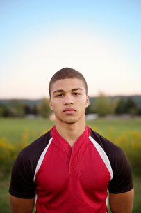 Portrait of college rugby playerの写真素材 [FYI03671617]
