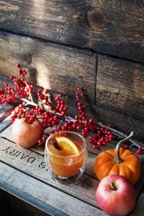 Orange juice with cinnamon on crateの写真素材 [FYI03676352]