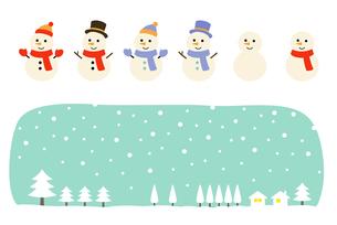 雪だるまと冬の風景 セットのイラスト素材 [FYI03681587]