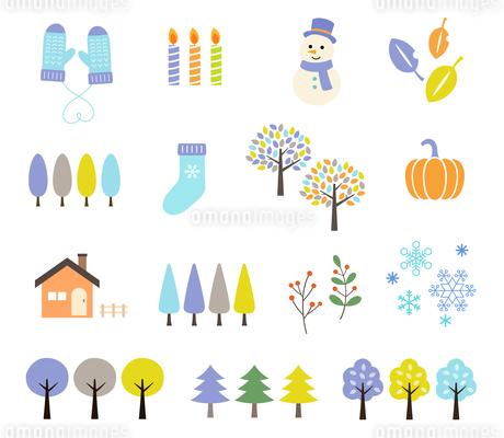 冬の風景イラストセットのイラスト素材 [FYI03681616]