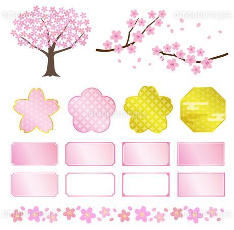 桜の木と和風フレームセットのイラスト素材 [FYI03683109]