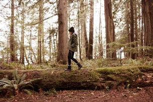 Mid adult woman walking on logの写真素材 [FYI03683616]