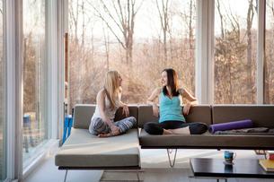 Homosexual females spending leisure time in living roomの写真素材 [FYI03688156]