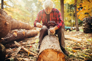 Mature male lumberjack fixing chainsaw while sitting on log in forestの写真素材 [FYI03688704]