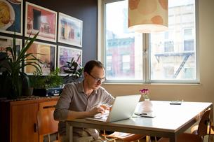 Man using laptop at homeの写真素材 [FYI03692474]