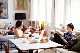 Happy couple spending leisure time in living roomの写真素材 [FYI03694151]