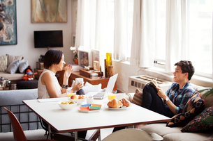 Cheerful couple spending leisure time in living roomの写真素材 [FYI03694152]