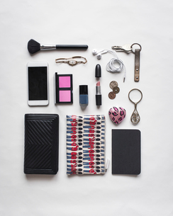 High angle view of accessories arranged on white backgroundの写真素材 [FYI03695777]