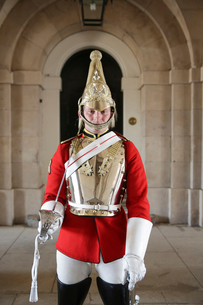 Portrait of man in honor guard costume standing in palaceの写真素材 [FYI03697714]