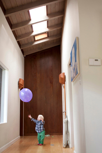 Curious boy trying to catch balloon at homeの写真素材 [FYI03698317]
