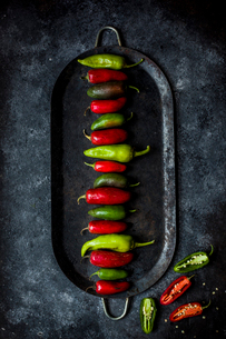 Overhead view of chili peppers arranged in tray on slateの写真素材 [FYI03699375]