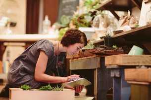 Female worker using tablet computer while examining plants at garden centerの写真素材 [FYI03709958]