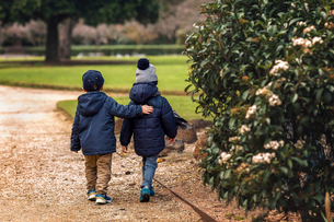 Rear view of brothers in warm clothing walking at parkの写真素材 [FYI03711216]