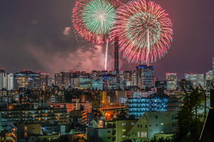 横浜の街並みと花火(みなとみらいスマートフェスティバル)の写真素材 [FYI03714680]
