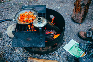 High angle view of vegetables in cooking pan on fire pit at campsiteの写真素材 [FYI03717995]