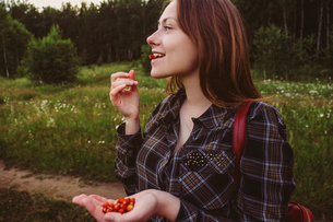 Woman eating small strawberries while looking away at fieldの写真素材 [FYI03718505]