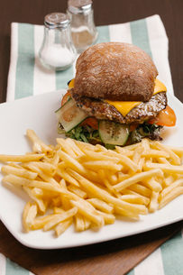 Close-up of hamburger and French Fries served in plate on table at restaurantの写真素材 [FYI03718813]