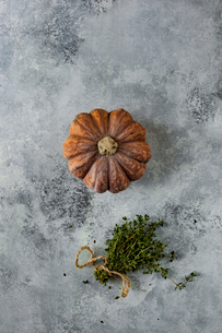 High angle view of pumpkin with herbs on tableの写真素材 [FYI03719331]