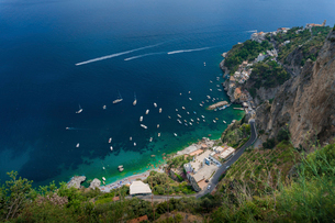 High angle view of boats moored on sea at Conca dei Mariniの写真素材 [FYI03720644]