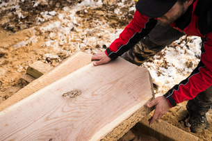 High angle view of carpenter carrying wooden planks at backyardの写真素材 [FYI03724734]