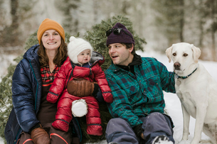 Parents with daughter and dog sitting by pine tree in forest during winterの写真素材 [FYI03725154]