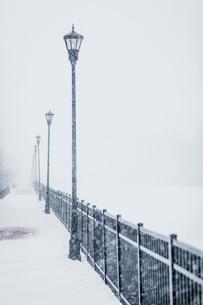 Street lights by metallic railing during snowfallの写真素材 [FYI03725216]