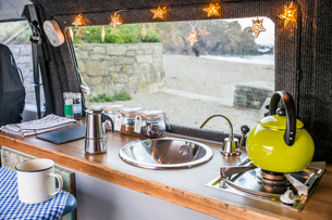 High angle view of kitchen in motor homeの写真素材 [FYI03726078]